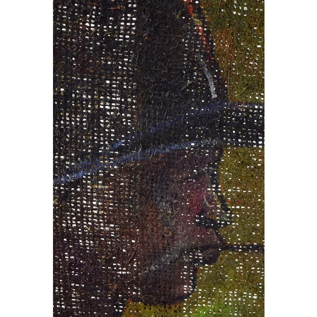 Vintage Mid-Century Man in Floppy Hat De Buren Haitian Oil Painting For Sale In Chicago - Image 6 of 8
