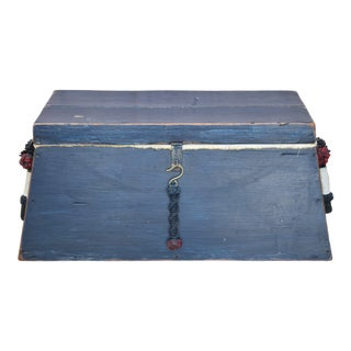 Nautical Seaman's Trunk Chest W/ Braided Rope Handles For Sale