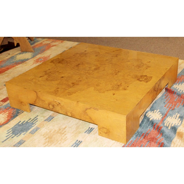 Mid Century Modern Milo Baughman Style Burl Wood Cube Coffee Table 1970s Tables Post-1950