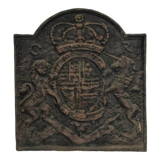 English Georgian Cast Iron Coat of Arms Wall Plaque For Sale