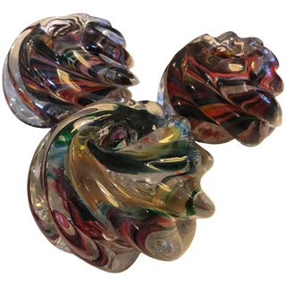 Three Murano Glass Votive Candle Holders For Sale