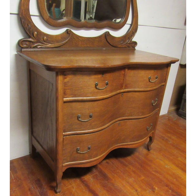 Early 20th Century Antique Tiger Oak Dresser & Mirror For Sale - Image 4 of 7
