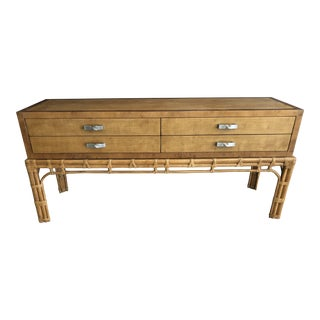 Vintage Rattan Faux Bamboo Henredon Credenza For Sale