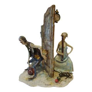 "Lo Scricciolo Italian Figurine Sculpture ""Out Too Late"" For Sale"
