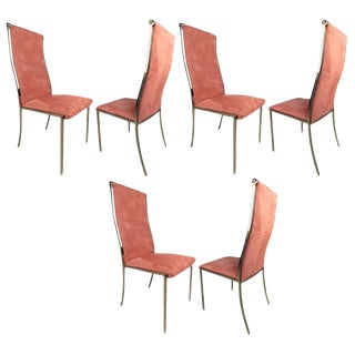 Highback Brass Dining Chairs - Set of 6
