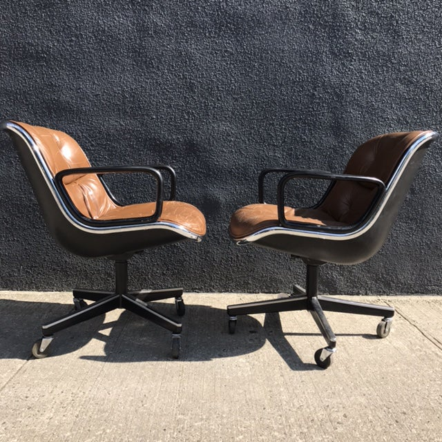 Charles Pollock for Knoll Brown Leather Office Chairs - a Pair - Image 4 of 7