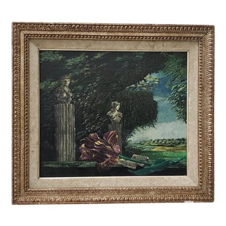 Classical Sculptures Overlooking a Lush Country Landscape Oil Painting C.1950s For Sale