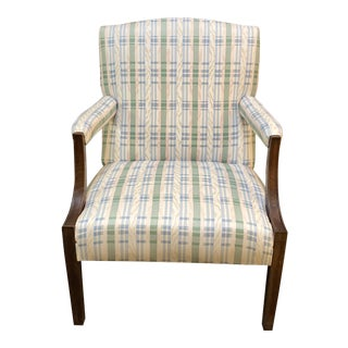 Late 20th Century Pastel Plaid Armchair + Pillow For Sale