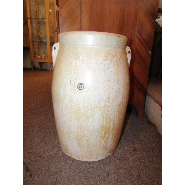 1920s Antique Cream Stoneware Crock For Sale - Image 5 of 5