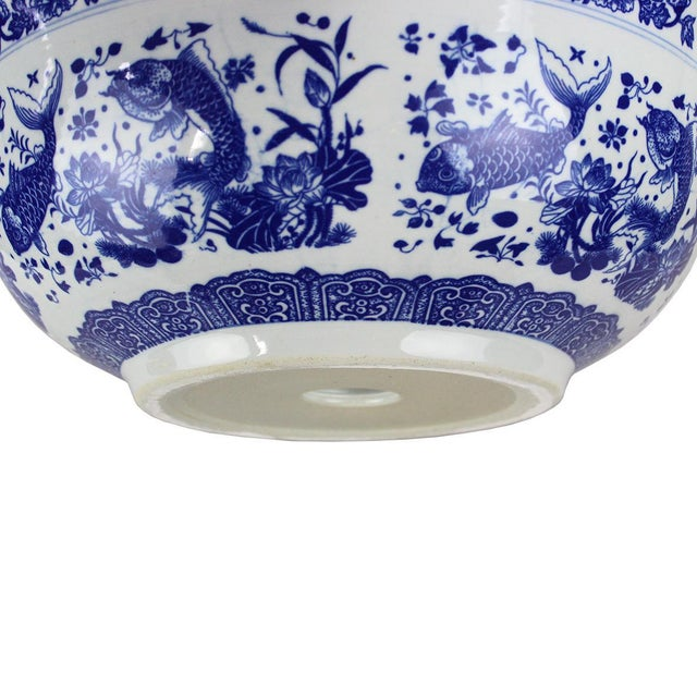 2010s Pasargad DC Modern White and Blue Motif Sink Bowl For Sale - Image 5 of 8