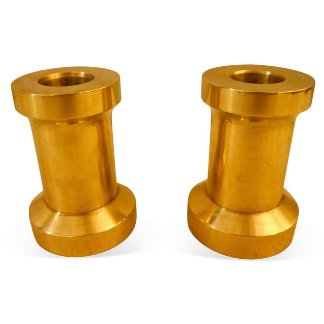 Heavy Brass Billet Candleholders For Sale - Image 4 of 5