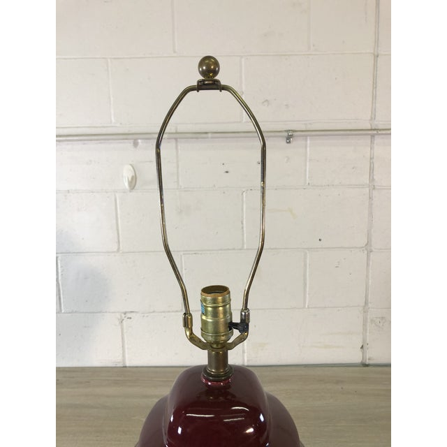 Mid-Century Modern Vintage 1970s Red Ceramic Table Lamp For Sale - Image 3 of 7