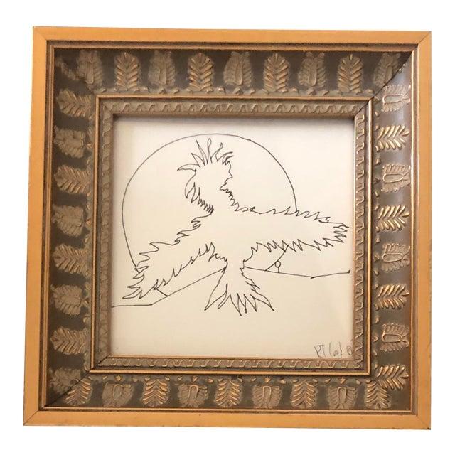 Original Vintage Robert Cooke Abstract Ink Drawing Bird For Sale
