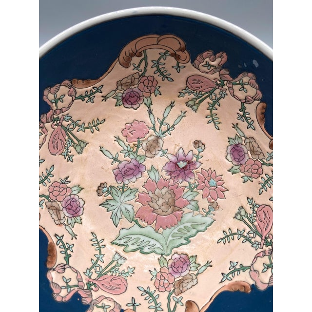 20th Century Chinese Blue and Pink Floral Bowl/ Catchall For Sale - Image 10 of 11