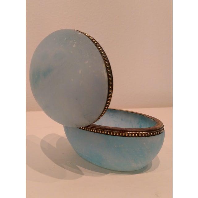 Blue Carved Alabaster Trinket Box with Brass Trim - Image 5 of 6