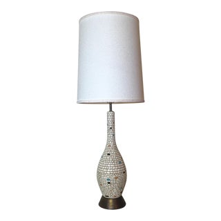 Mid-Century Ceramic Mosaic & Brass Table Lamp For Sale