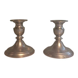 Pewter Candle Holders - A Pair