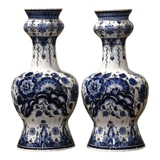Pair of Vintage Dutch Hand Painted Blue and White Faience Delft Vases For Sale