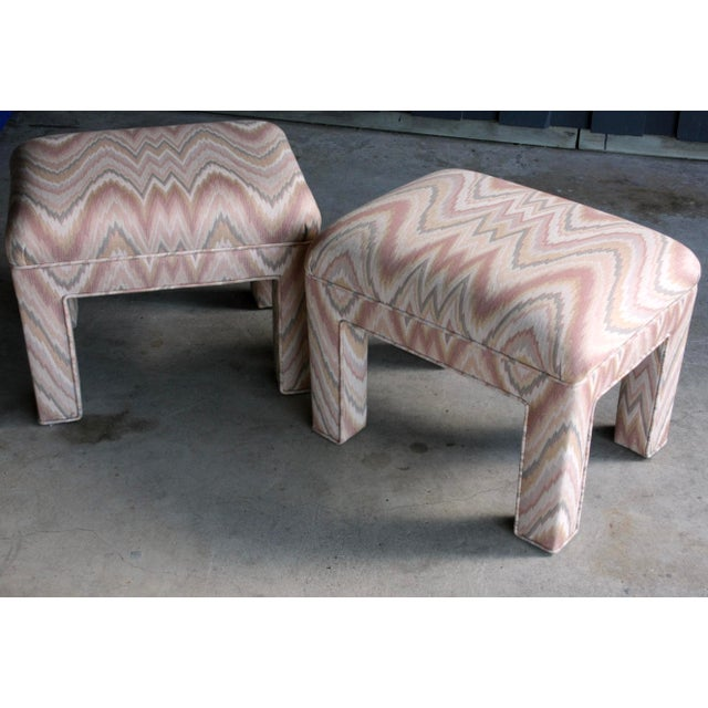 1980s Contemporary Flamestitch Parsons Ottomans, a Pair For Sale In Dallas - Image 6 of 10