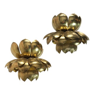 Large Brass Lotus Pendants - a Pair For Sale