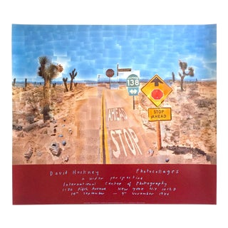 "David Hockney Original Lithograph Print Exhibition Poster "" Pearl Blossom Hwy "" 1986 For Sale"