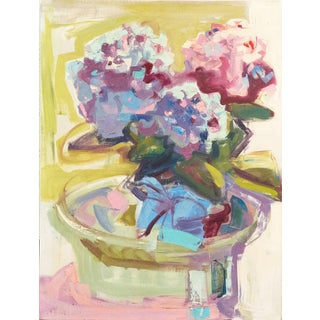 Pink and Blue Hydrangeas by Marion Maxfield For Sale