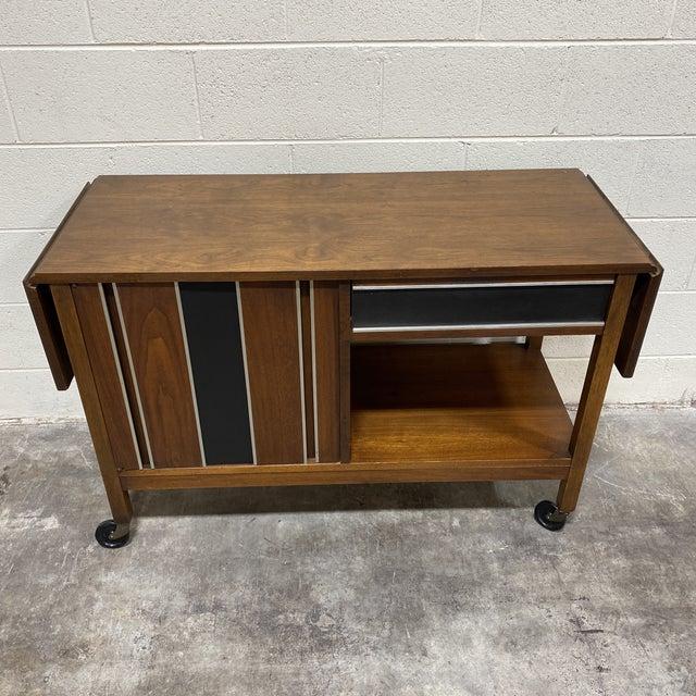 Mid Century Drop Leaf Walnut Bar Cart For Sale - Image 13 of 13