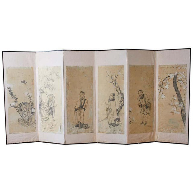 Korean Six-Panel Screen of Legendary Chinese Figures For Sale - Image 13 of 13