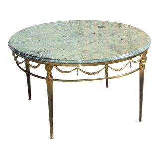 1940s Art Deco Maison Jansen Bronze With Round Marble Top Coffee Table For Sale