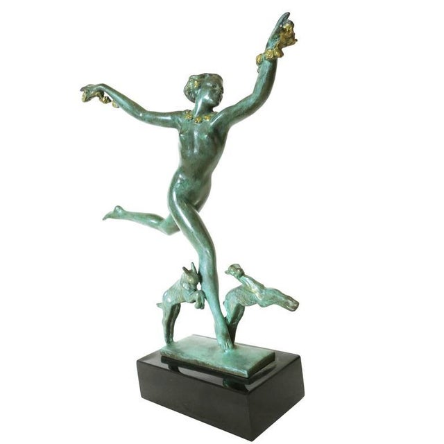 Derenne Style Art Deco Nude Dancing Nymph Bronze Statue with Black Marble - Image 2 of 8