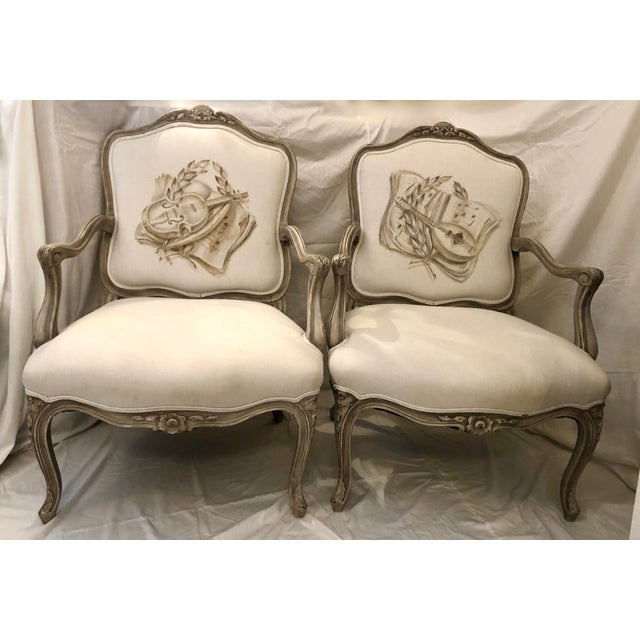 Italian Mid-Century Louis XV Style Hand-Painted Fauteuils - a Pair For Sale - Image 13 of 13