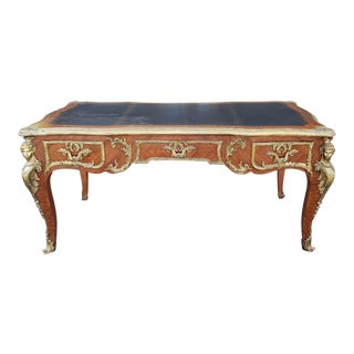 20th Century French Louis XV Style Kingwood Ormolu Mounted Bureau Plat Writing Desk For Sale