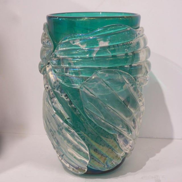 Cenedese Italian Modern Iridescent Emerald Green Murano Glass Sculpture Vases - a Pair For Sale - Image 4 of 12