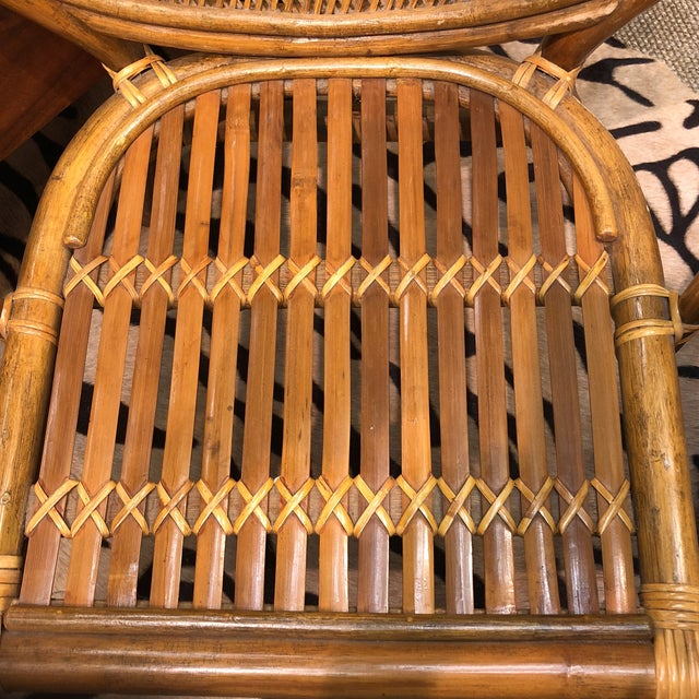 Wicker 4 Vintage Midcentury Rattan Chairs For Sale - Image 7 of 9