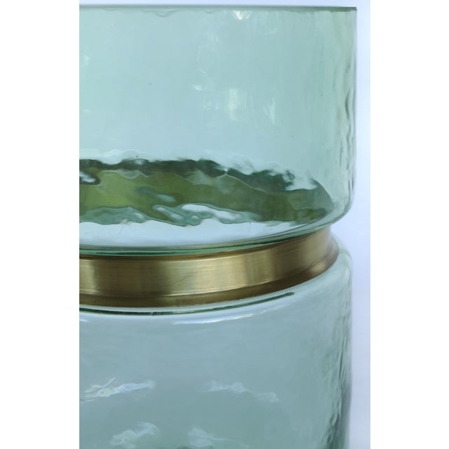 Hand-Blown Lava Glass Vase W/ Gilt-Metal Banding- Pair Available For Sale - Image 4 of 6