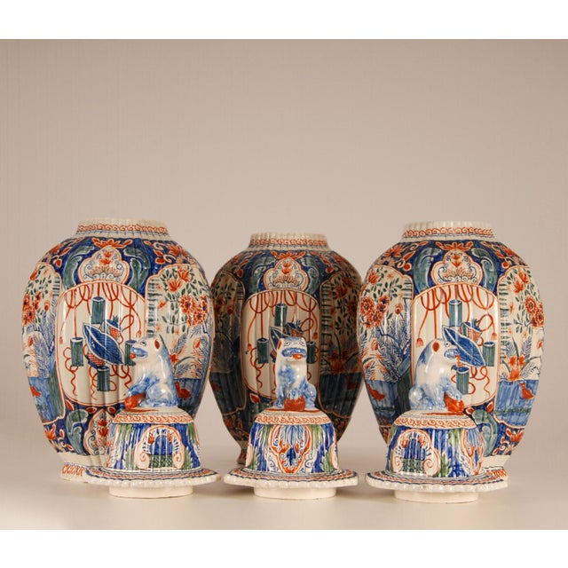 Ceramic Antique French Delftware Pottery Tinglazed Vases & Covers - Set of 3 For Sale - Image 7 of 12