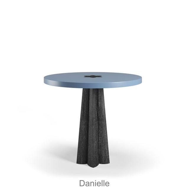 Danielle Side Table - Black Cerused Oak - Summer Mist Blue For Sale In Los Angeles - Image 6 of 6