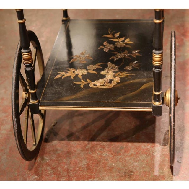 Brass Early 20th Century French Chinoiserie Hand Painted Bar Cart For Sale - Image 7 of 10