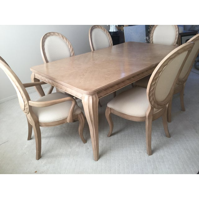 Traditional Bernhardt Tuscan Traditional Dining Room Set - Table 6 Chairs- Light Wood- Expandable For Sale - Image 3 of 10