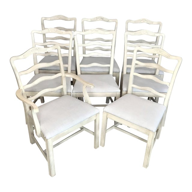 1920s Provençale Antique White Ladder Back Dining Chairs – Set of 8 For Sale