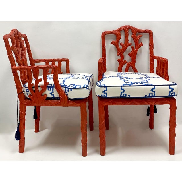 Carved Italian Red Faux Bois Jim Thompson Blue & White Linen Arm Chairs - a Pair For Sale - Image 4 of 9
