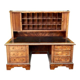 Rare Antique English Writing Desk W Tambour Doors & Chubbs Locks For Sale