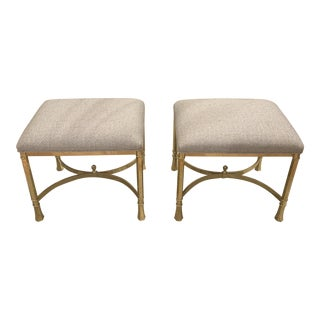 Mid Century Italian Brass Benches- A Pair For Sale