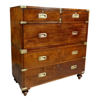 Early Victorian Mahogany and Brass Bound Campaign Chest For Sale