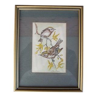 Vintage English Woven Silk Artwork