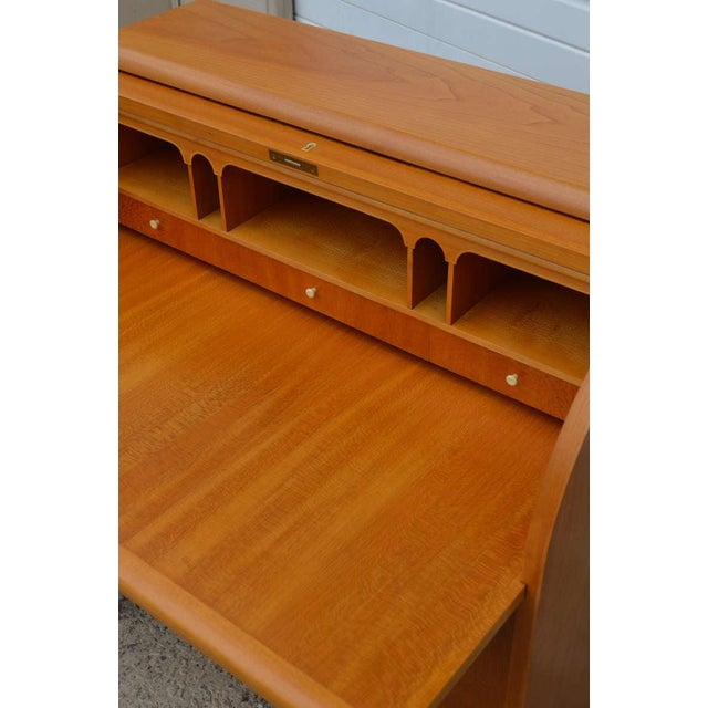 Swedish Art Moderne Elm Roll-Top Secretary Writing Desk For Sale - Image 4 of 11