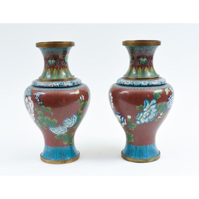 Art Nouveau Late 19th Century Cloisonné Floral Decorative Vases - a Pair For Sale - Image 3 of 13
