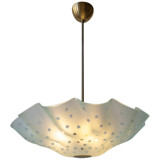Mid 20th Century Orrefors Attributed, Rare Swedish Frosted Glass & Brass Handkerchief Chandelier For Sale - Image 5 of 5