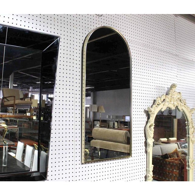 Modern Mid-Century Metal Frame Encasing Dome Shape Mirror For Sale - Image 3 of 6