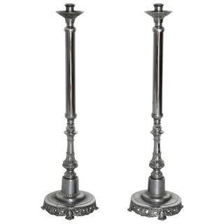 Pair of Silverplated Altar Floor Candlesticks For Sale